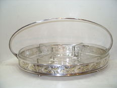 A silver plated Art Deco petit four bowl platter, stamped