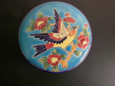 Longwy Enamel sweet pot, before 1946 to 1953