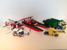 City town - 7998 + 7244 + 10156 + 7890 + 7903 - Heavy loader + Speed boat + Truck + Ambulance + Rescue helicopter