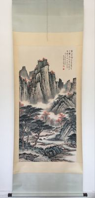 Hand painted large scroll painting (copy Huang Junbi) - China - late 20th century