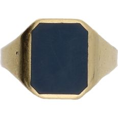 "14 kt - Yellow gold signet ring set with ""lagensteen"" - ring size: 22 mm"