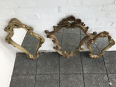 Three gilded Baroque style mirrors-France - 2nd half of 20th century
