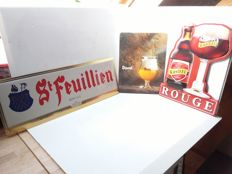 Old tin glasoline advertising signs from Belgium - from the years 1997 1995 2000.