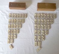 Two domino games in original sliding box - Belgium - 1st half 20th century