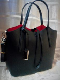 Women's shoulder bag with 2 handles and zip, in boarded leather - Florence Premarket Italy