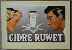CIDRE RUWET - belgian brewery advertising sign - dated 1962