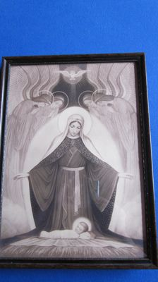 Very nice Art Nouveau religious picture framed