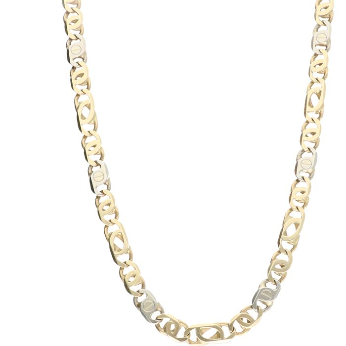 14 kt bi-colour solid decorated curb link necklace - length: 63 cm