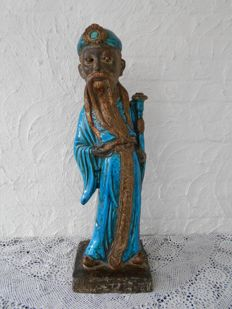 Earthenware enamelled sculpture of a Chinese man - marked - 59 cm