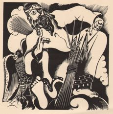 Joris Minne (1897-1988) - Jupiter with eagle + another woodcut from the same - 1935