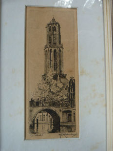 Two etchings of Hendrikus E. Roodenburg - 1) the Domtoren in Utrecht (1922) and 2) De Oude Kerkstoren Amsterdam (1924)