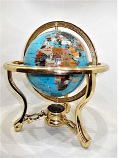Globe with semi-precious stones - gold plated - 24 cm - 2 kg