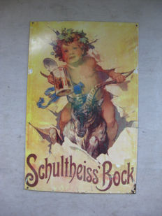 Metal sign for Schultheiss Bock