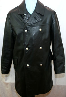 Rare black leather jacket / leather uniform officer / short coat