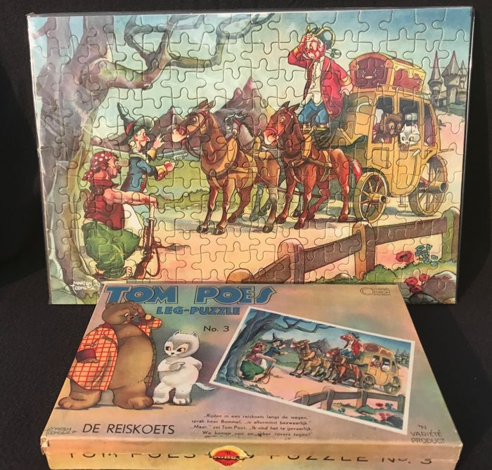 Oliver B. Bumble & Tom Puss - Tom Puss jigsaw puzzle in box - 1st series - No. 3 - De reiskoets - (1941)