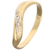 18 kt - Yellow gold wavy ring set with 3 zirconia stones - Ring size: 17.50 mm