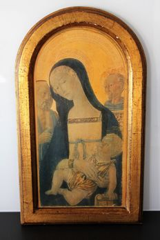 Virgin and child - Icon - 1950 - Wood and stucco frame - France