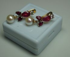 Gold Earrings with Diamonds 0.42 ct fresh water Pearls 7,9 mm and Rubies 5.2 ct