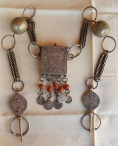 Berber antique brooches with secret box, coral and antique coins