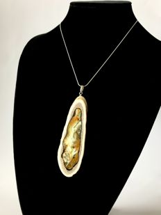 Pendant 10 cm from carved deer horn with natural Baltic Amber inlay and  sterling silver chain, handmade
