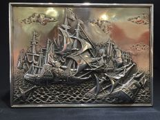 Silver tobacco case with naval battle scene, Netherlands, ca. 1961