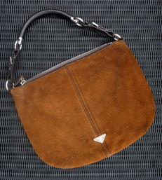 Prada – Cognac-coloured nubuck-leather handbag