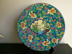 Large plate Longwy enamel plate to hang, from 1946-1950