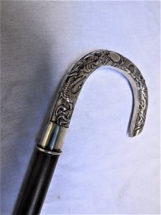 Chinese walking stick made of real silver, knob is hallmarked 2x - ca. 1900