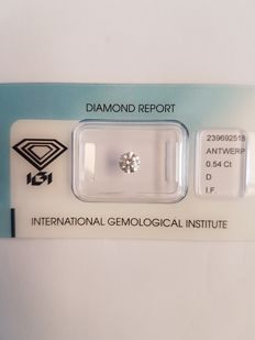 Brilliant cut diamond of 0.54 ct, D, IF.