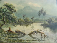 Anton Huang Widjaja (1935-1984) -  landschap met water en berg in West Java Indonesië