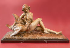 Art Deco fireplace statue of a reclining young woman with swan