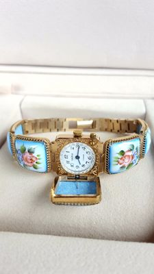 CHAIKA — Enamel-Ceramic Soviet Ladies Exclusive Wristwatch -1980's