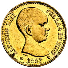 Spain - Alfonso XIII - 20 pesetas 1887 *19-61 - Official recoinage - Gold - Rare - Only 800 pieces
