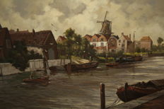 Jos van Dijk ( 1913- 2000 ) - Boten in de Linge Haven Gorkum