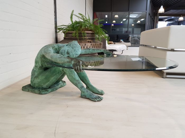 Bronze Woman With Glass Table Top