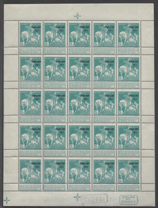 Belgium 1911 - Caritas 5c blue green type Lemaire with overprint 'Charleroi 1911' in sheet of 25 stamps - OBP no. F105