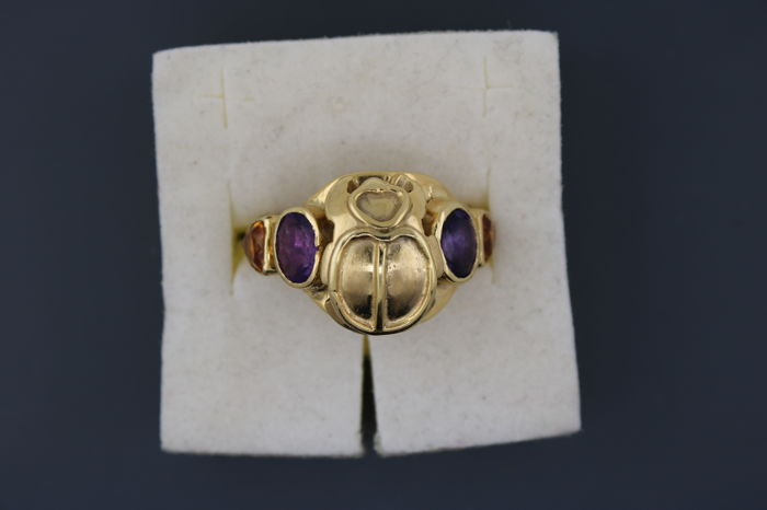 18kt yellow gold scarab ring with amethyst and citrine - 55 (EU)