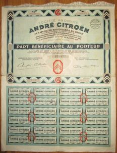 France - Andre Citroen - Share Certificate Paris 1927 - famous Citroen car manufacturer
