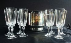 Champagne cooler with 8 crystal champagne flutes by Luminarc