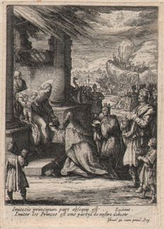 Jacques Callot ( 1592-1632 ) -The Adoration of the Magi - Second state with publishers address - 1619/24