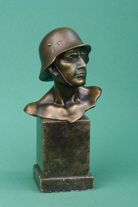 Whole detailed bust German Stahlhelm with shields on helmet old model (metal zamac), on marble base ca. 1933-1940