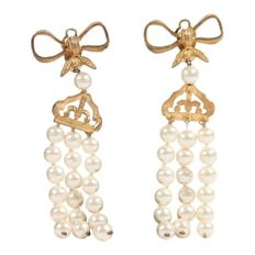Chanel - Vintage 3 Strands Faux Pearls Earrings with Bow Detail