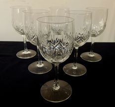 6 Saint Louis cut crystal wine glasses, model MAGELLAN, France, prior to 1936