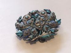 Silver 'Sung' Chinese enamelled brooch clip