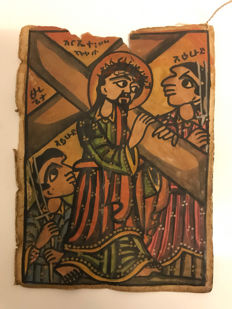 Ethiopian old 2 handpainted icon manuscript leafs - more than 100 years old