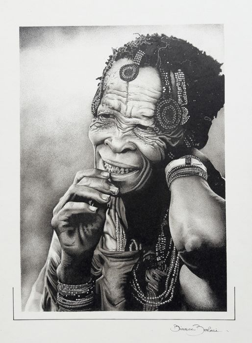 Pointillism Drawing Old Woman Of The Tribes Of The Bushmen Of Kalahari