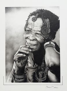 Pointillism Drawing, Old woman of the tribes of the Bushmen of Kalahari