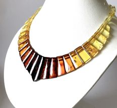 Wide collar necklace Baltic amber slices (not pressed) - length 50 cm- width 34 mm