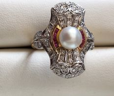Art Deco ring, pearl, calibrated rubies and diamonds, circa 1930.