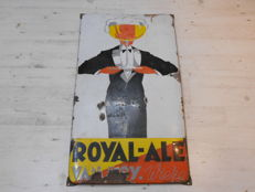Curved enamelled advertising plate for beer: ROYAL-ALE Van Roy Wieze